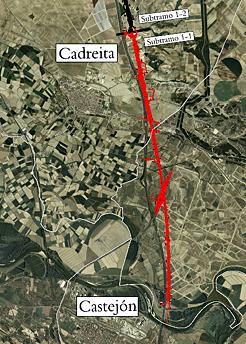 Imagen del trazado del tramo Castejón-Cadreita, realizada por el Gobierno de Navarra