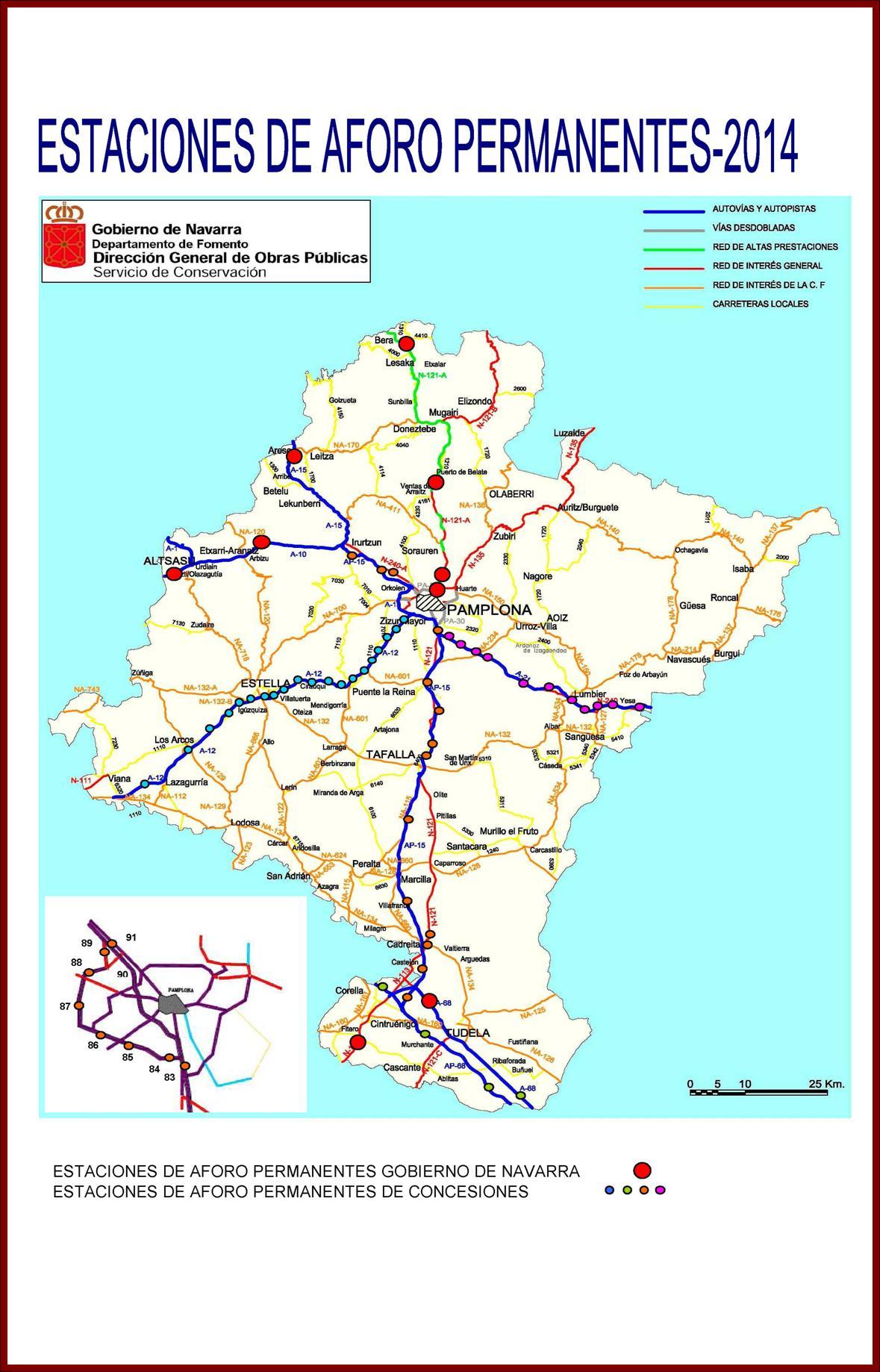 Mapa De Navarra Carreteras.Carreteras Mapa Y Listado De Carreteras Navarra Es