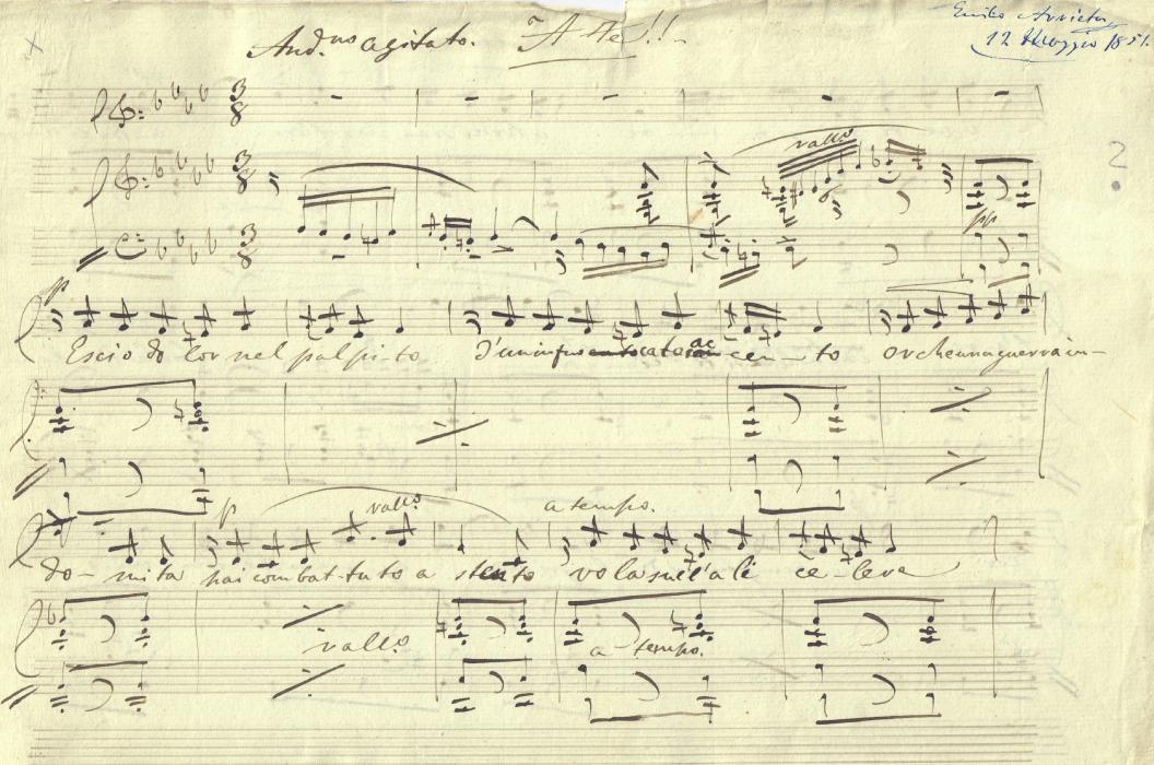 Un fragmento de la partitura <em>'A te!'</em> escrita por Emilio Arrieta yfechada en el año 1851