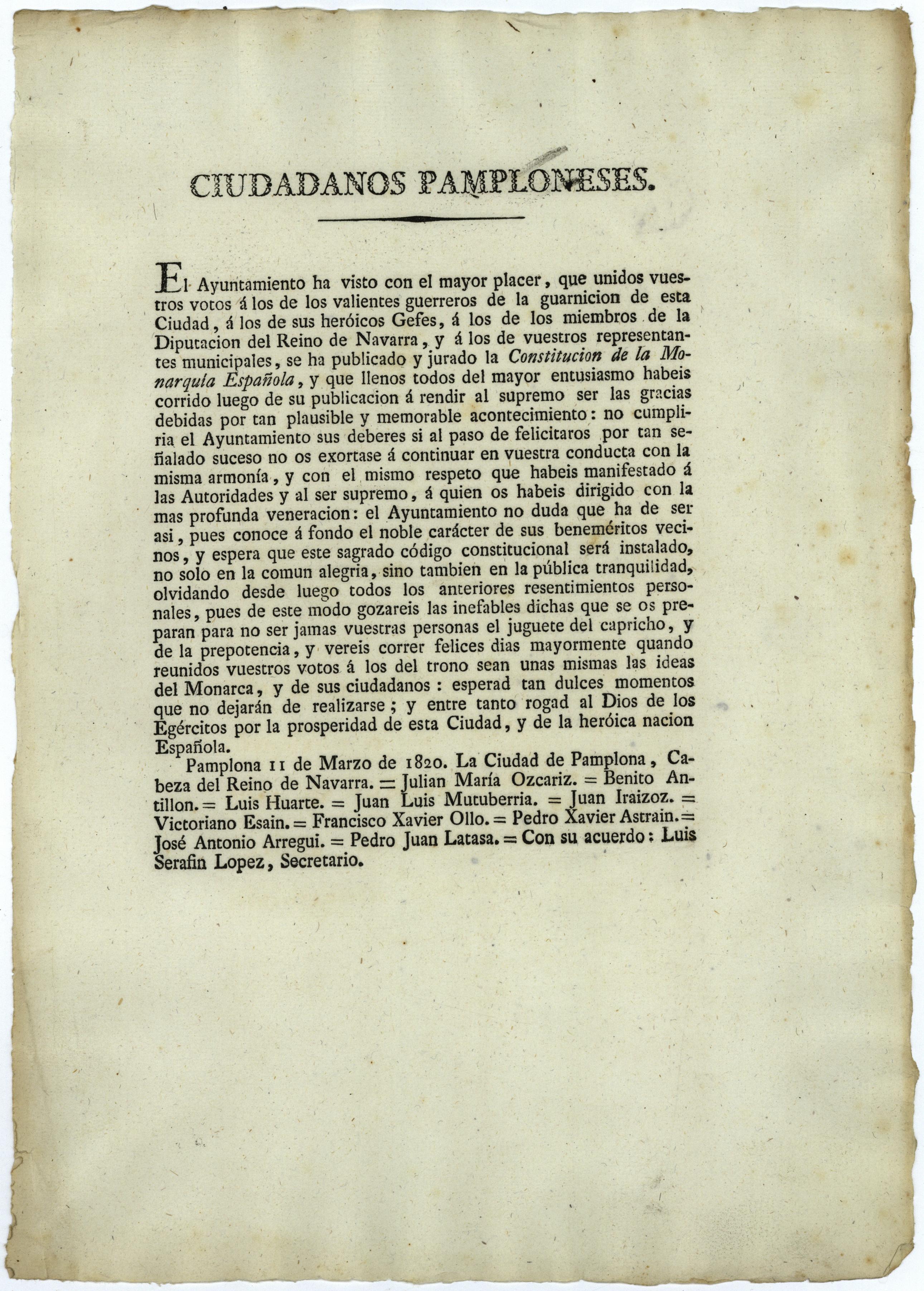 El Archivo de Navarra dedica su microexposición de enero al bicentenario del trienio liberal (1820-1823)