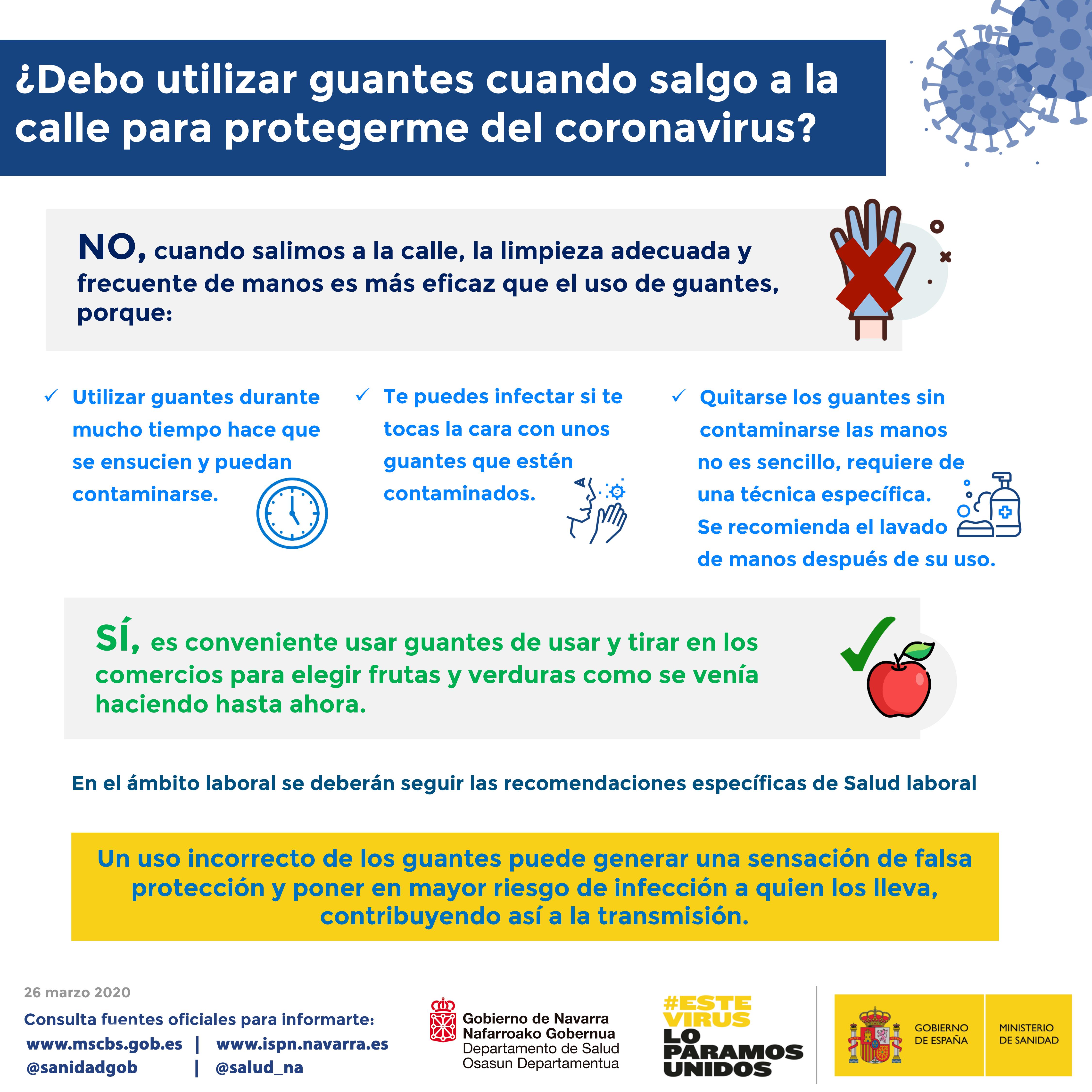 Salud aconseja a la población en general el lavado adecuado y frecuente de manos frente al uso de guantes
