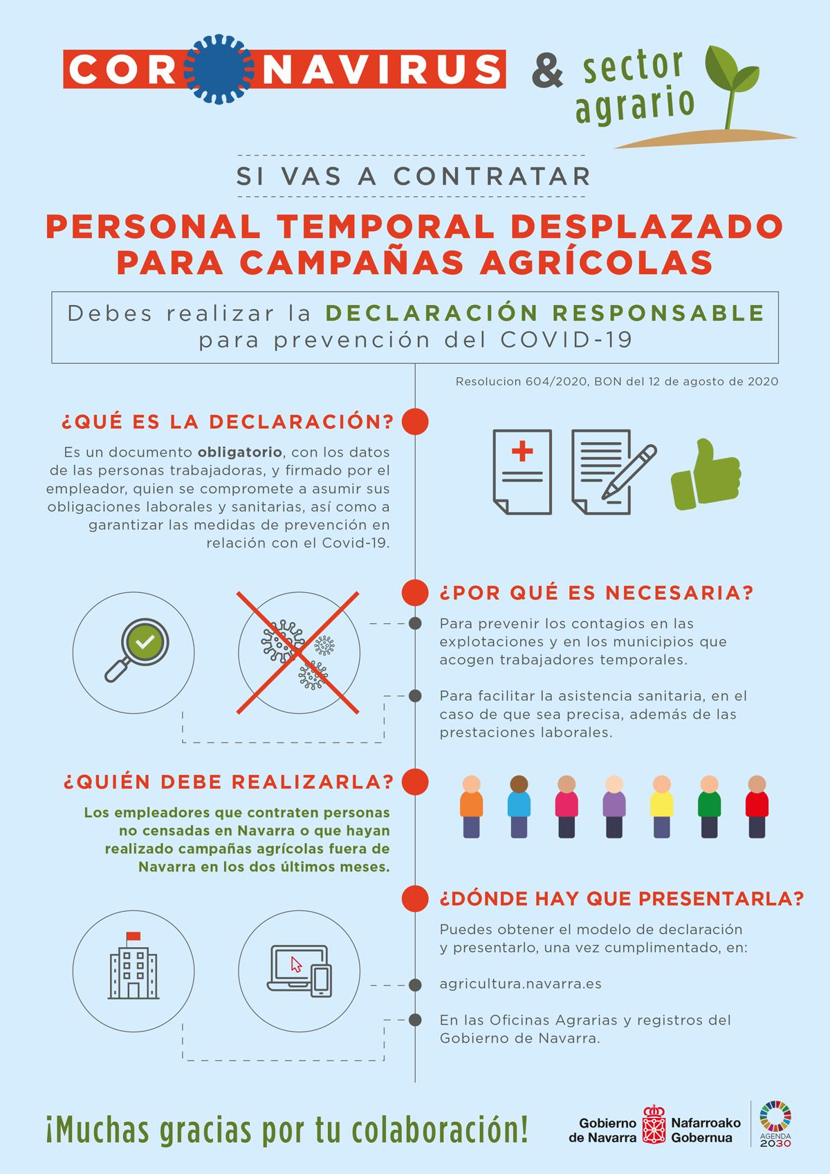 El Gobierno de Navarra realizará charlas informativas sobre la contratación de temporeros para hacer frente al COVID-19