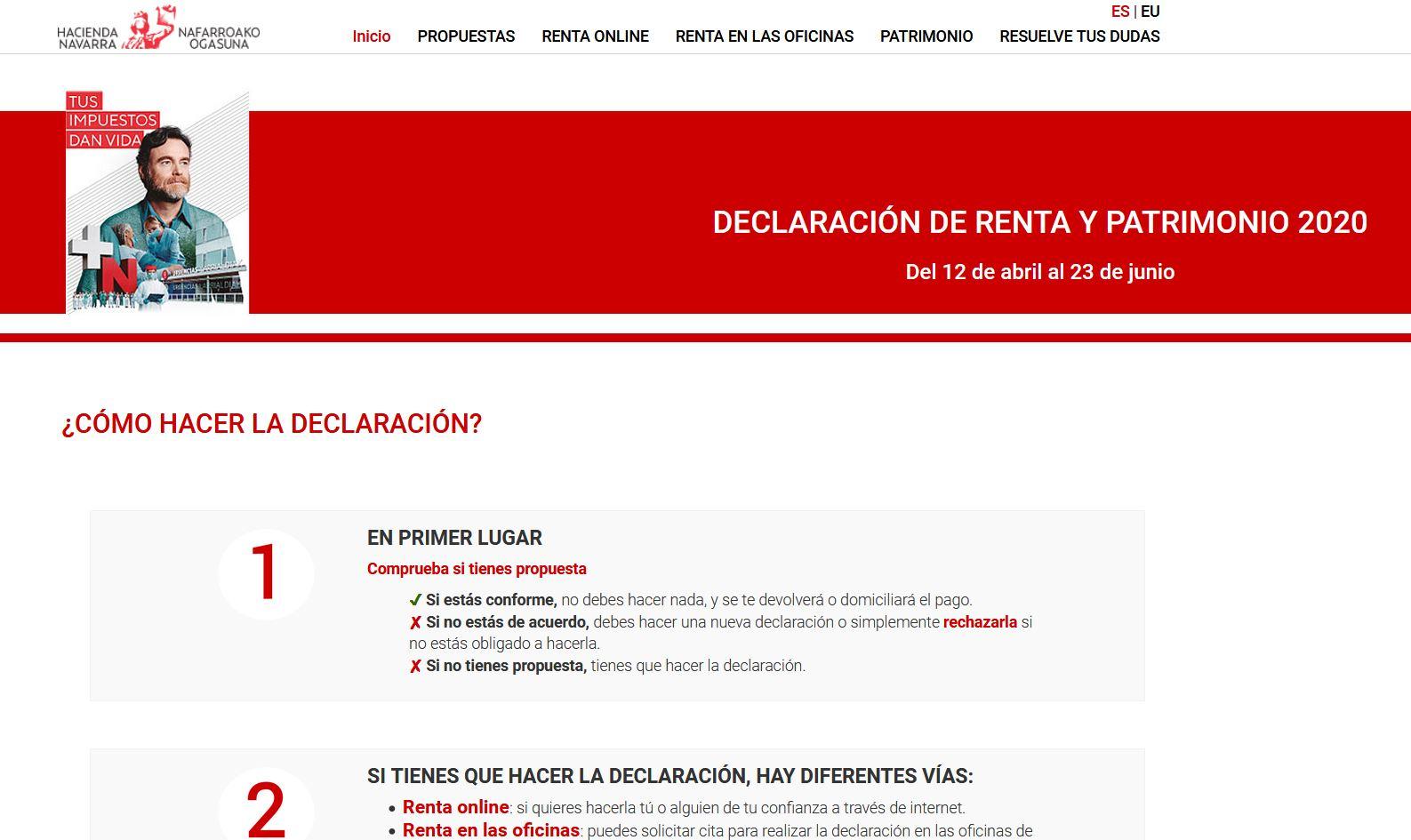 Página principal de renta.navarra.es
